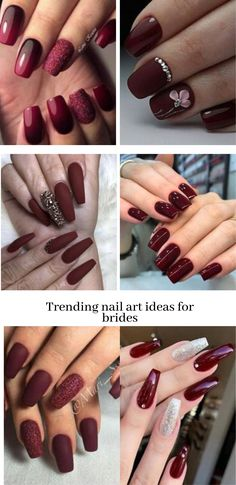 Deep Red Nails, Red Ombre Nails, Red Gel Nails, Red Nail Art, Bridal Nails Designs, Bridal Nail Art, Wedding Nails Design, Nail Art Designs, Bridal Makeup