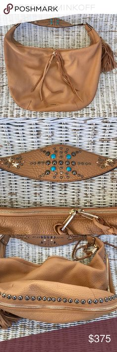 NWOT {REBECCA MINKOFF} Austin Bailey Large Hobo 🌟VERY RARE!🌟 💠Crafted from super soft pebbled leather 💠A spray of bright turquoise jewels & polished studs adds modern edge to the shoulder strap.  💠An oversized tassel adds a bold touch to the slim & slouchy profile w/ a zip-around gusset to expand the bag.  💠Two-way zips open the top line to a logo-print lined interior w/ 3 pockets & a zip compartment.  💠This gorgeous bag is truly one to covet!  🌀BRAND NEW 🌀NEVER USED  🌀PRISTINE…
