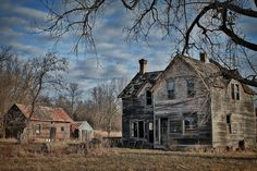 """Love this old, abandoned farm.  In my imagination I can clearly see a family living here """"once upon a time""""..."""