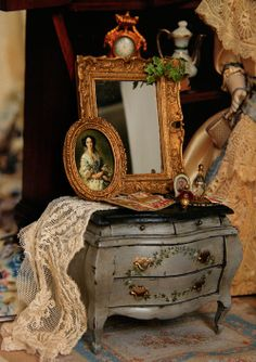 1:12 Inch Scale Rococo-style chest by Argus Minis: Miss Havershams Dressing Commode $170.00