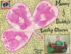 St. Patty's Day art project for kids or toddlers. Feet / hand art projects