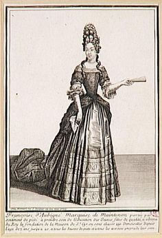 In this print, the Marquise de Maintenon wears a mantua and a high coiffure, probably with a ridge of bows and ribbons at the top. Historical Art, Historical Clothing, Female Clothing, Fashion History, Fashion Art, 17th Century Fashion, 18th Century, Main Image, Riding Habit