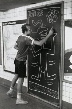 Keith Haring - He got his artisitic start doing graffiti in New York City, he's known for his rounded cartoon figures: Jean Michel Basquiat, Jm Basquiat, Jasper Johns, Jackson Pollock, Andy Warhol, Keith Allen, Keith Haring Art, Arte Hip Hop, Tv Movie