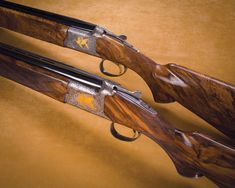A lovely matched set of Browning Citori over/under shotguns custom stocked for the client by Al Lind. They are a matched set, rather than a matched pair, as one gun is a 12-bore, and the other a 20-bore. The client provided the beautiful wood, two sticks of Iranian-grown thin-shelled walnut. Al told me that the biggest challenge was doing the skeleton butt-plates on these through-bolt stoked guns. The matching skeleton grip caps were not nearly as difficult.