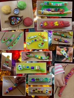 "Play dough snakes and worms for pattern and length work from Rachel ("",)"