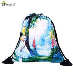 HAKOONA Printed Fantasy Alice Shoes Bags Polyester Fabric Travel Shoulders Backpack Drawstring Storage Bags Organizers 39*30cm
