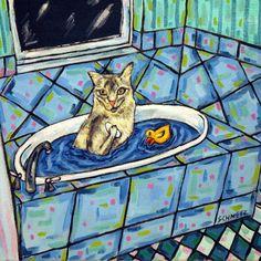 BOMBAY CAT TAKING A BATH   cat art print prints 13x19 glossy gift gifts