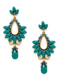 Teal Glass & Crystal Drop Earrings by Leslie Danzis on Gilt.com