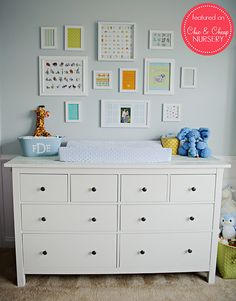 Changing Table and Wall Art in Blue and White Classic Boy Nursery | Flickr - Photo Sharing!