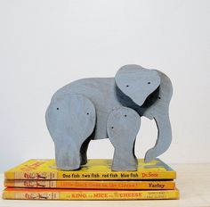 Vintage Handmade Wooden Elephant Toy by Suite22 on Etsy, $14.00