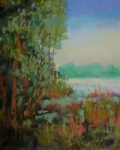 """Daily Paintworks - """"Reeds at the Lake"""" - Original Fine Art for Sale - © Judy Wilder Dalton"""