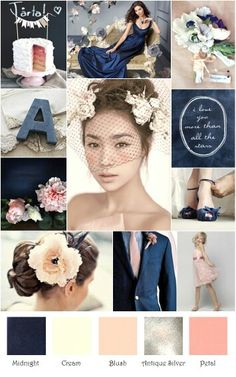 Wedding inspiration: navy, blush, cream, and grey