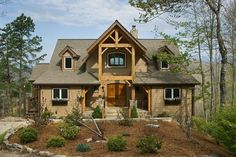 Custom Red Oak Timber Frame Home in Bryson City, NC - Woodhouse The Timber Frame Company Dream House Plans, My Dream Home, Dream Homes, Rustic Houses Exterior, Mountain House Plans, Cabins And Cottages, Log Cabins, Timber Frame Homes, Country Style Homes