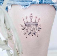 48 Beautiful Tattoos For Women Over 40 Blumenkrone von Tina Choi New Tattoos, Body Art Tattoos, Girl Tattoos, Tattoos For Guys, Tattoo Girls, Tatoos, Thigh Tattoos, Temporary Tattoos, Small Tattoos