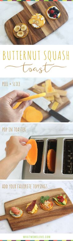 GENIUS! Put a slice of Butternut Squash in your toaster to make an easy bread substitute that is gluten-free, vegan, low-fat, low-carb, low-calorie, whole 30 and paleo compliant! Add your favorite toppings for a healthy breakfast, lunch (use it as an alternative for bread in sandwiches!) or dinner - great for clean eating families! If you like sweet potato or avocado toast, you'll love butternut squash toast!