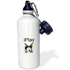 I play, picture of drum set, black lettering, Sports Water Bottle, Workout Pictures, Fitness Pictures, Stainless Steel Water Bottle, High Gloss, Drums, Colour Black, Color, Lettering, Play