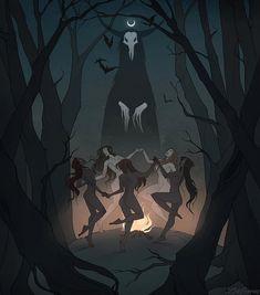 Drawlloween Coven by IrenHorrors on DeviantArt Dark Fantasy Art, Fantasy Kunst, Dark Art, Arte Horror, Horror Art, Horror Comics, Desenhos Tim Burton, Witch Coven, Arte Obscura