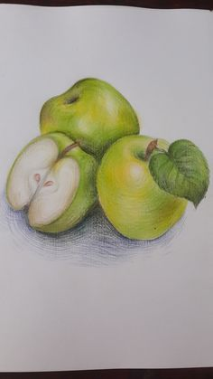 Realistic Drawings, Colorful Drawings, Art Drawings Sketches, Cute Drawings, Pencil Drawings, Colour Pencil Shading, Color Pencil Art, Photo Fruit, A Level Art Sketchbook