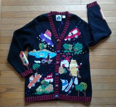 STORYBOOK KNITS Womens Sweater Cardigan Med Jamie Gries HSN Cars Boat Castle 90s #StorybookKnits #Cardigan