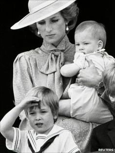 Diana with very young William and Harry.