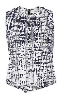 The top I like, It would look good with acid yellow trousers. Cotton Blend Abstract Printed Top by PRABAL GURUNG Now Available on Moda Operandi