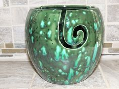 Yarn Bowl, Ceramic. Unique Green with Blue speckled  glaze.  Perfect gift for the crafter! Measures 6.6 x 6.6 by GabiLuBoutique on Etsy