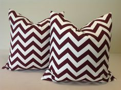 Decorative maroon chevron pillows!