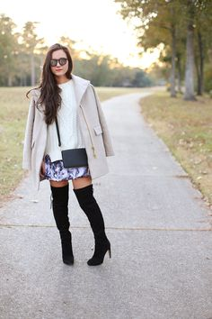 [Skirt: Express] [Sweater: C.Wonder] [Sunglasses: Krewe du Optic] [OTKBoots: Sam Edelman Kayla (available in expresso here)] [Coat: J.Crew] [Bracelet: Reagan Charleston] [StackableRings: Kendra Scott] [Bag:Dagne Dover c/o] About the Look: I wore this outfit a few weeks ago to brunch with a few friends in New Orleans. It's so easy to through on a cozy …