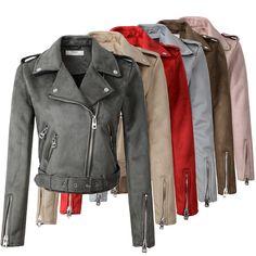 2018 New Arrial Women Autumn Winter Suede Faux Leather Jackets Lady Fashion Matte <font><b>Motorcycle</b></font> Coat Biker Gray Pink Beige Outwear