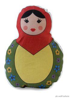 red matrioska pillow