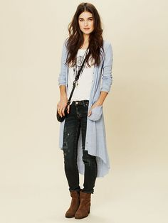 Free People Ribbed Up Maxi Cardigan ___ LOVE IT!!! Have peach gray and blue!!!! so soft and light for summer too!