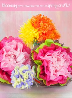 Flower bouquets that last year-round!  Layer colored tissue paper; fold accordion style, then secure center with twine. Use scissors to shape one end of paper and pull top layer of tissue upward toward the center until all layers have been fluffed. Repeat until you have desired number of flower bouquets.  Fill vase with plastic Easter grass and arrange bouquets!
