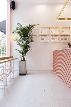 COFFEE DA 커피다 - SPACE LITA Coffee Shop Interior Design, Salon Interior Design, Coffee Shop Design, Boutique Interior, Restaurant Interior Design, Modern Restaurant, Retail Interior, Cake Shop Design, Bakery Design