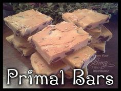 Primal Bars  Ingredients: 1 C. Coconut Flour 1 C. Almond Flour 3/4 C. Almond Butter 3 Tbsp. Honey 2 Tbsp. Coconut Oil, melted 1 1/2 Tsp. Vanilla Extract 1 C. dark Chocolate Chips  Directions: 1. In a large bowl, using a fork, combine coconut flour, almond flour, almond butter, honey, coconut oil, and vanilla extract. Once mixed, stir in chocolate chips.  2. Press mixture into a parchment-lined baking dish. Cover with plastic wrap and refrigerate until ready to slice and serve. Can keep in…