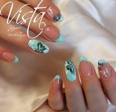 Fancy Nails, Diy Nails, Cute Nails, Pretty Nails, Turquoise Nail Designs, Tree Nail Art, Fall Nail Art, French Tip Nails, Healthy Nails