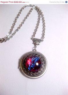 Back To School Sale The Geekery Dragon's Breath Opal Galaxy Locket Necklace on Etsy, $27.20