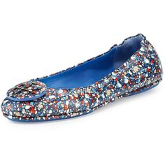 Designer Clothes, Shoes & Bags for Women Leather Ballet Shoes, Leather Flats, Leather Slip Ons, Flat Shoes, Foldable Flats, Travel Logo, Blue Flats, Ballerina Shoes, Tory Burch Flats