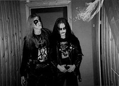 Dead (left) and Euronymous (right) from Norwegian black metal band Mayhem. Dead committed suicide and Varg Vikernes killed Euronymous.