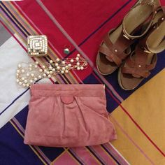 """Beautiful pink suede clutch Bare Trapz, pink suede, 8"""" x 9.5"""", gold hinges, new with tags. Inside black and white pinstripes, side pocket. Bare Trapz Bags Clutches & Wristlets"""