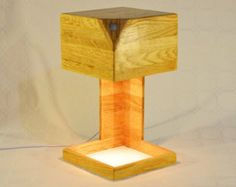 Wooden design lamp, recycled wood, ambiance warm, touch dimmer, modern design, Cubis by Lune et Animo