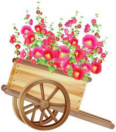 Carretilla con las flores PNG prediseñada …