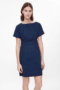 Wide-neck Denim Dress in Cobalt (COS)