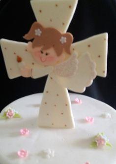 Angel Child On a White Cross Cake Topper, Baptism Cross Cake Toppers, Girls Baptism, First Communion Girl, First Communion Decorations, Baptism Favor, Baptism Cake Decorations, Communion Boy Cake