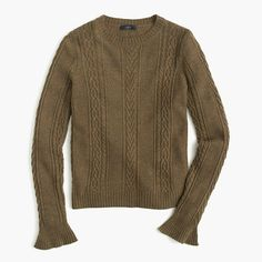 J.Crew+-+Cable+crewneck+sweater+with+ruffle+sleeves