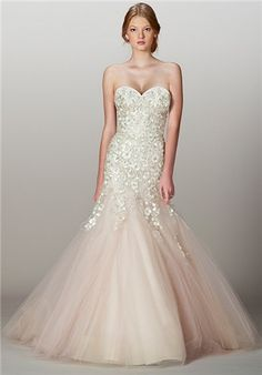 Italian embroidered tulle drop-torso sweetheart mermaid gown with Swarovski crystals