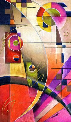 """The abstract I am most proud of Kandinsky Cadence 14x24"""" Color Pencil on MDF Panel, available on EbaY"""