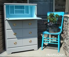 Beautiful refinished dresser--we could do this in your room, we even have an extra dresser like this