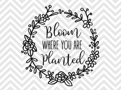 Bloom Where You Are Planted Laurel Wreath SVG and DXF EPS Cut File • Cricut • Silhouette PNG • Download File • Printable Cricut Projects• Silhouette Project Ideas By Kristin Amanda Designs