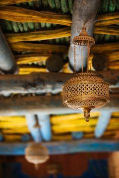 Traditional ceiling and lantern, Craft & Cultural Village, The Medina of Agadir, Agadir, Atlantic Coast, Morocco