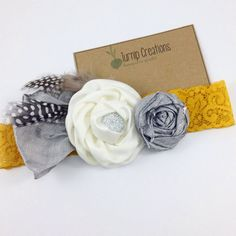 A gorgeous color combination....Gray & Mustard! This headband is so chic and modern with a classic twist!    A beautiful cream rolled satin flower